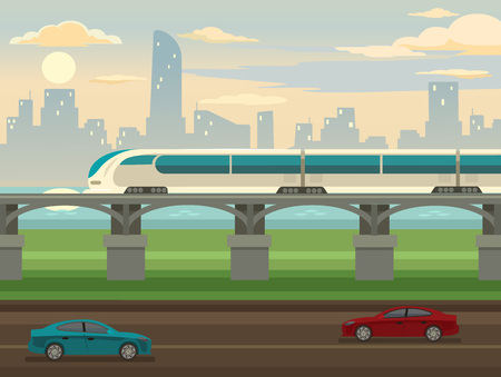 the railway: Train on railway and bridge. Vector flat illustration Illustration