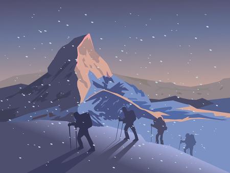 Los escaladores suben la montaña. ilustración vectorial
