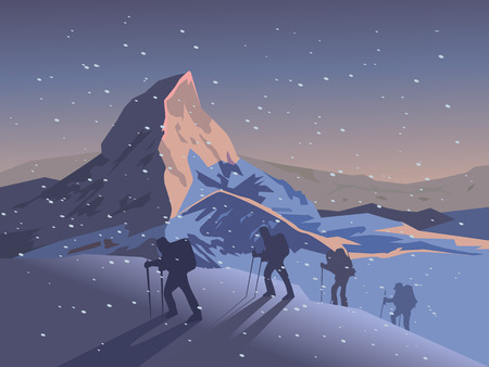 Climbers climb the mountain. Vector illustration