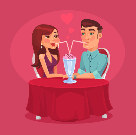 Romantic couple in the cafe. Vector flat illustration
