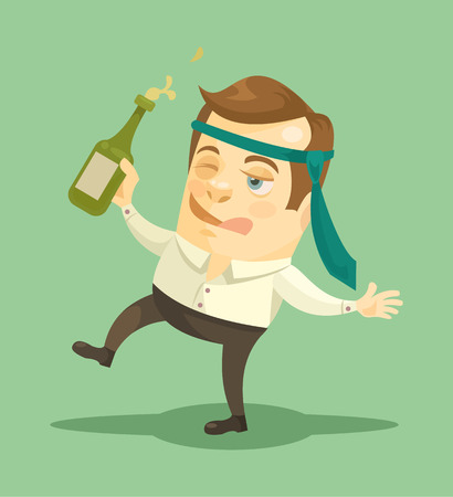 Drunk businessman. Vector flat illustration