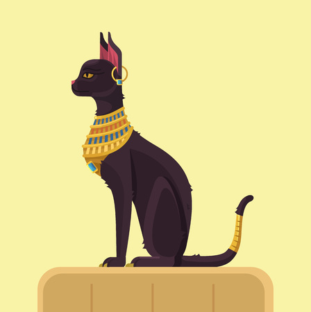 Egypt cat. Vector flat illustration  イラスト・ベクター素材