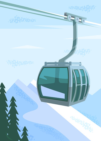 Ski lift. Vector flat illustration