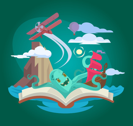 Fairy book. Vector flat illustration