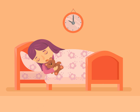 cartoon bed: Sleeping baby girl. Vector flat illustration