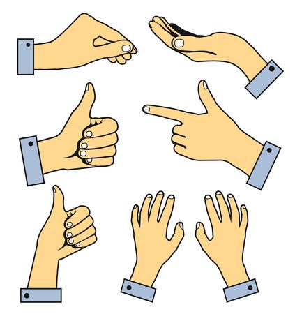 Set of human pointing hands. Vector flat line illustration Vettoriali