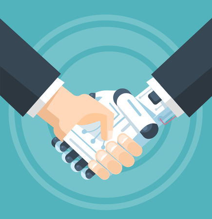 Businessman and robot handshake. Vector flat illustration Stock Illustratie