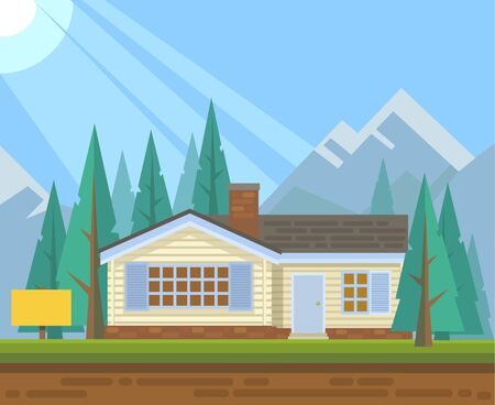 house sale: House in forest for sale. Vector flat illustration Illustration