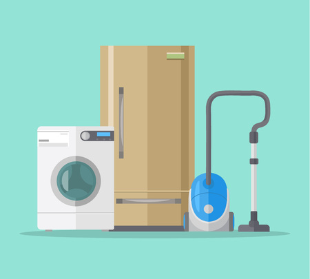 household goods: Household objects. Vector flat illustration Illustration
