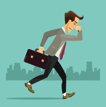 following: Business man run. Vector flat illustration Illustration