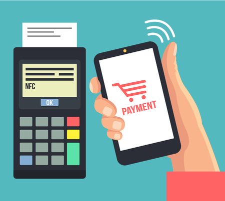 wireless terminals: Mobile payments using smartphone. Vector flat illustration