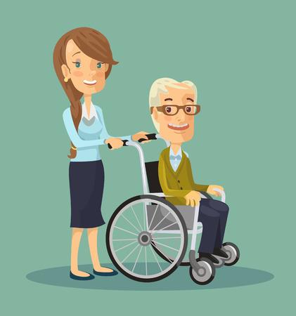Social worker strolling with elder man in wheelchair. Vector flat illustration