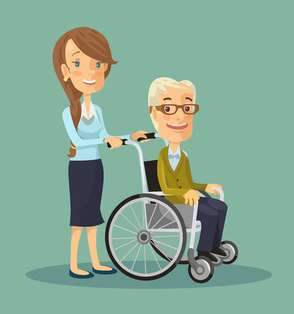 Social worker strolling with elder man in wheelchair. Vector flat illustration