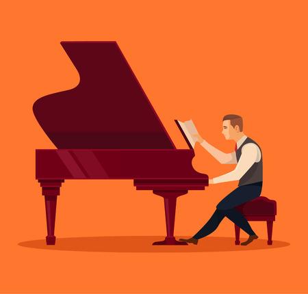 virtuoso: Pianist piano player concept. Vector flat illustration Illustration