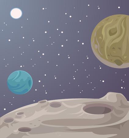 cosmos: Alien fantastic landscape. Vector cartoon illustration