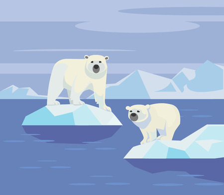 north pole: Polar bears. Vector flat illustration
