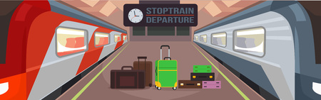 intercity: Train station platform. Vector flat illustration Illustration