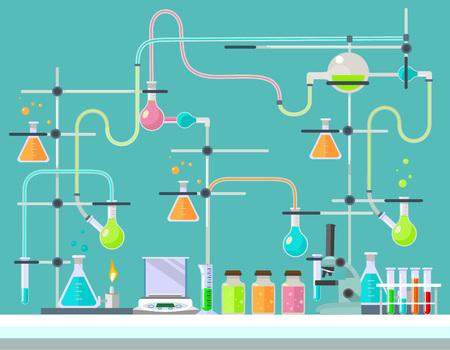 medical laboratory: Medical laboratory. Vector flat illustration Illustration