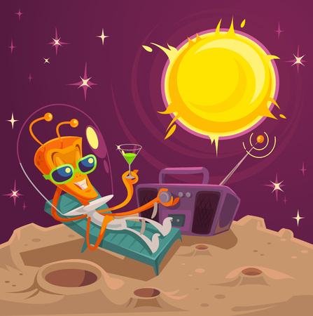 moon chair: Alien rests. Vector flat illustration Illustration