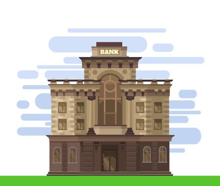 federal reserve: Facade of a bank building. Vector flat illustration Illustration