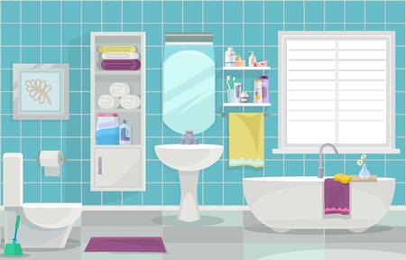 현대적인 욕실 인테리어입니다. 벡터 평면 그림