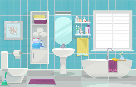 towel: Modern bathroom interior. Vector flat illustration Illustration