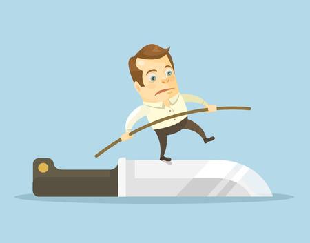 risks: Businessman on the knife. Vector flat illustration