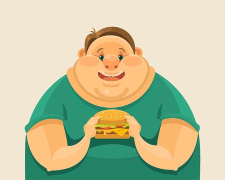 Hombre gordo que come una hamburguesa grande. Vector ilustración plana