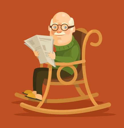 oude krant: Oude man zit in schommelstoel. Vector flat illustratie