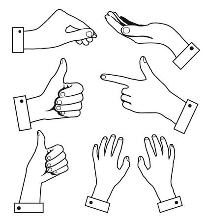 interpretations: Hands in different interpretations. Vector line icon set Illustration