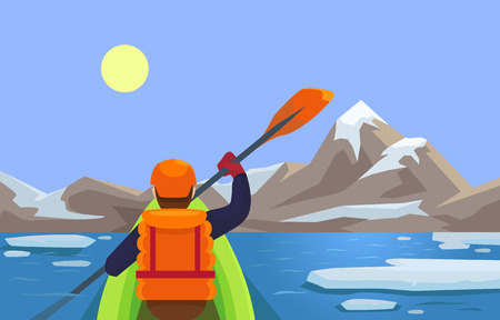 kayaking: Kayaking. Vector flat illustration