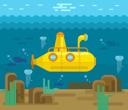 cartoon submarine: Submarine. Vector flat cartoon illustration