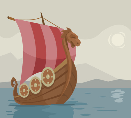 pirate crew: Viking ship. Vector cartoon illustration