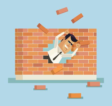 disobey: Businessman breakthrough. Vector flat illustration Illustration