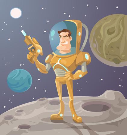 soldado: El astronauta en el planeta. Vector ilustración de dibujos animados plana