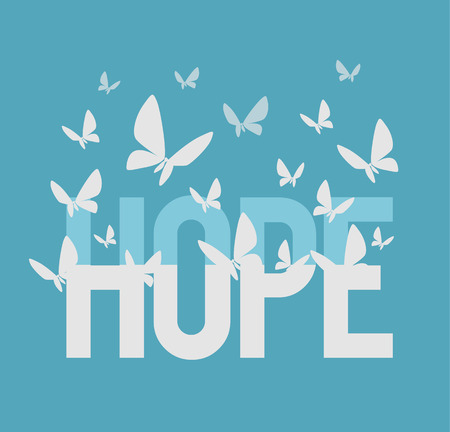 Hoffnung Inschrift. Vector flach Illustration