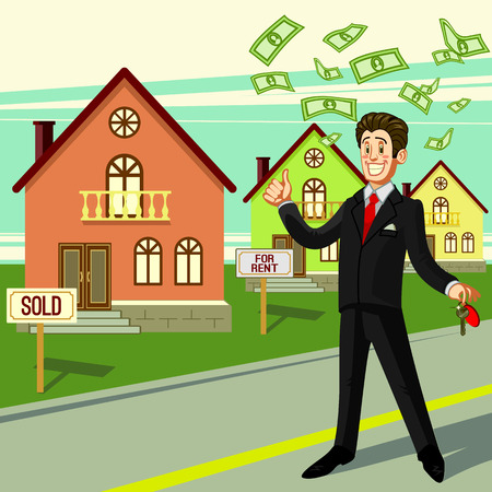 realtor: Realtor man with key and money on house background. Vector flat illustration