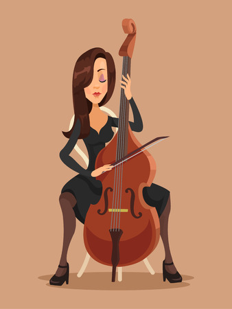 Woman playing the cello. Vector flat illustration