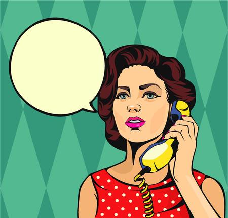 Girl talking on phone. Vector comic illustration Illustration