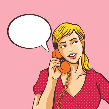telefono caricatura: Chica hablando por teléfono. Vector ilustración de historietas Vectores