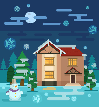 winter weather: Winter house. Vector flat illustration
