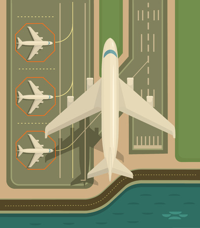 aircraft take off: Plane is taking-off. Vector flat illustration Illustration
