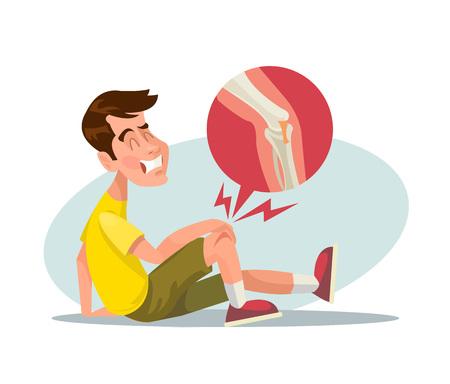 injuries: Broken leg. Vector flat illustration
