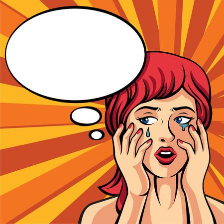 think up: Girl crying. Vector retro comic style illustration Illustration