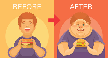 double chin: Obesity vector flat illustration Illustration