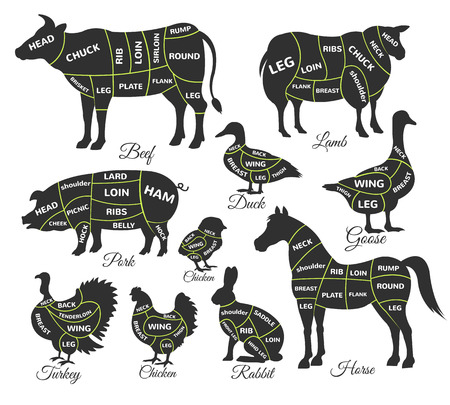 Diagram guide for cutting meat. Vector black icon illustration set