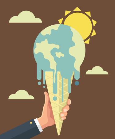 Opwarming van de aarde. Vector flat illustratie