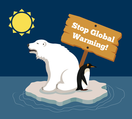 Stop global warming. Vector flat illustration Çizim