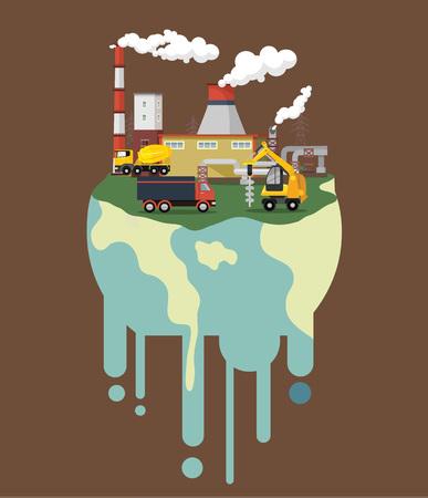 mundo contaminado: Calentamiento global. Vector ilustraci�n plana Vectores