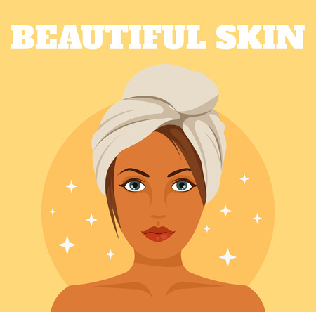 skin problem: Perfect skin. Vector flat illustration Illustration